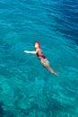 Sports Girl Swims In The Sea