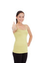 Sports girl on a white background fitness woman smiling happy caucasian fitness isolated Stock Photography