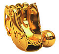 Sports: golden baseball glove Royalty Free Stock Photo