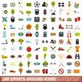 100 sports ground icons set, flat style Royalty Free Stock Photo