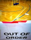 Sports hall with sign, out of order Royalty Free Stock Photo