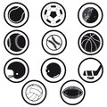 Sports icons black and white collection of retro in Royalty Free Stock Photos