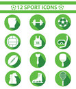 Sports icons green version set of Royalty Free Stock Photo