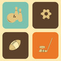 Sports icons over cream background illustration Royalty Free Stock Photo