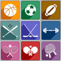 Sports icons set of of different color Royalty Free Stock Photography