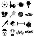 Sports icons set of item in black Royalty Free Stock Image