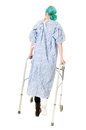 Sports injury young woman with to her ankle using crutches isolated on white Royalty Free Stock Photography
