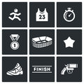 Sports jogging, discipline icons set. Vector Illustration. Royalty Free Stock Photo