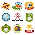 Sports logo set with rugby golf bowling equipment isolated vector illustration Royalty Free Stock Images