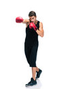 Sports man boxing in red gloves full length portrait of a isolated on a white background Stock Photos