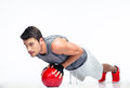 Sports man working out with fitness ball Royalty Free Stock Photo