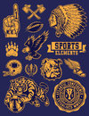 Sports mascots and logo vector set isolated elements texture is on separate layer Stock Images