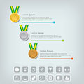 Sports medal and award concept champions or winners icons sport infographic with icons trophy cups cups vector illustration Royalty Free Stock Image