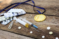 Sports medal and medicines Royalty Free Stock Photo