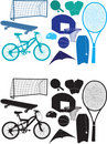 Sports object silhouettes Stock Photo