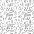 Sports pattern with soccer football symbols in hand draw style vector illustration Stock Image