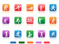 Sports people buttons the collection of colored on white background Royalty Free Stock Images