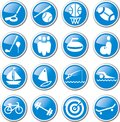 Sports and recreation icon set blue Royalty Free Stock Image