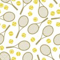 Sports seamless pattern with tennis icons in flat Royalty Free Stock Photo