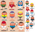 Sports set of cartoon characters representing different no transparency and gradients used Stock Image