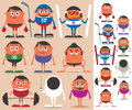 Sports set of cartoon characters representing different no transparency and gradients used Royalty Free Stock Photography