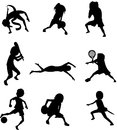 Sports set of of nine in silhouette format Stock Photo