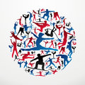 Sports silhouettes circle Royalty Free Stock Photography