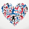 Sports silhouettes heart Stock Image