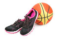 Sports sneakers and basketball Royalty Free Stock Photo