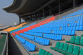 Sports stadium many empty seats in rows in an outdoor Royalty Free Stock Photos