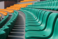 Sports stadium many empty seats in rows in an outdoor Royalty Free Stock Images