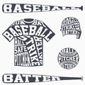 Sports symbols of baseball with typography Royalty Free Stock Photo