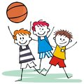 Sports team, three happy kids , basketball, vector icon