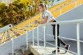 Sports Woman Standing At Stadium