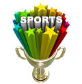 Sports word gold trophy winner champion the in a starburst in a to symbolize winning athletes and physical activity Stock Image