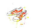 Sports youth gym shoes sneakers water colour drawing an illustration of of with blots Stock Photography