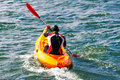 Sportsman kayak training active person in sea water Royalty Free Stock Photo