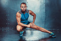 Sportsmen fit male trainer man concept crossfit fitness workout strenght power Royalty Free Stock Photos