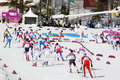 Sportsmen during men s cross country km mass start sochi russia february competition at sochi xxii olympic winter games Stock Image
