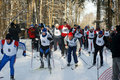Sportsmen run on skis Stock Photography