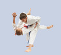 Sportsmen are training high throws of Judo Royalty Free Stock Photo