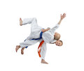 Sportsmens train in judogi judo throws Royalty Free Stock Photo