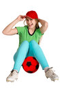 Sportswoman with balkl ball on the white background Royalty Free Stock Photography