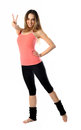 Sporty Aerobics Girl Signing Victory Royalty Free Stock Image