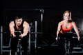 Sporty Couple Exercising At Th...