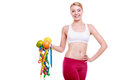 Sporty fit woman with measure tapes fruits time for diet slimming weight loss health care healthy lifestyle young sport fitness Royalty Free Stock Photo