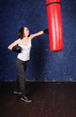 Sporty girl boxing Royalty Free Stock Images