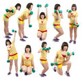 Sporty girl  exercising with weights Royalty Free Stock Photo