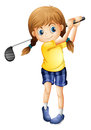 A sporty girl playing golf Royalty Free Stock Photo