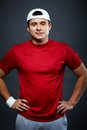 Sporty guy portrait of handsome in sportswear looking at camera Royalty Free Stock Photo